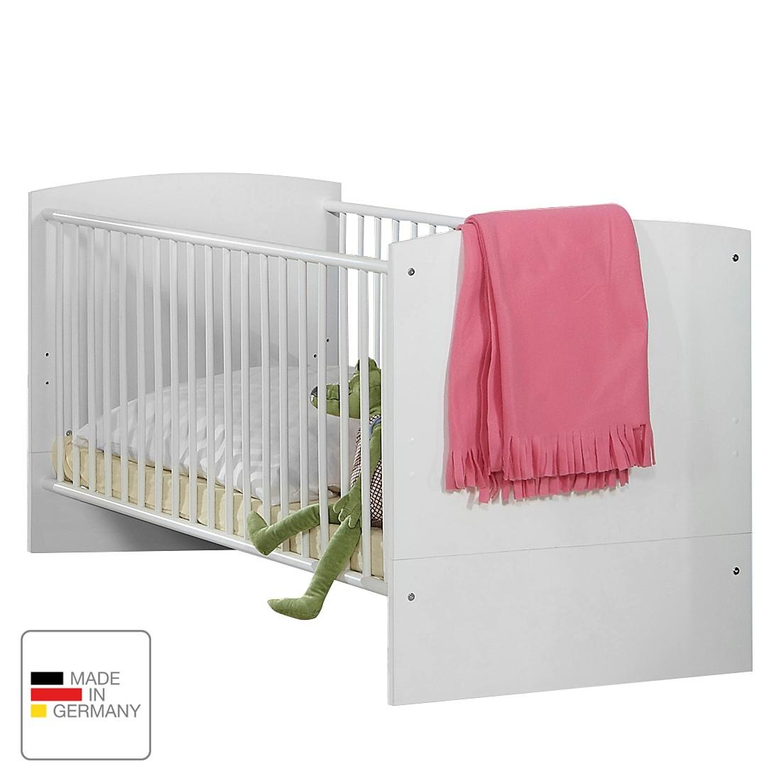 Babybed Gina   alpinewit hoogglans braamkleurig   met bedzijkanten_ Wimex
