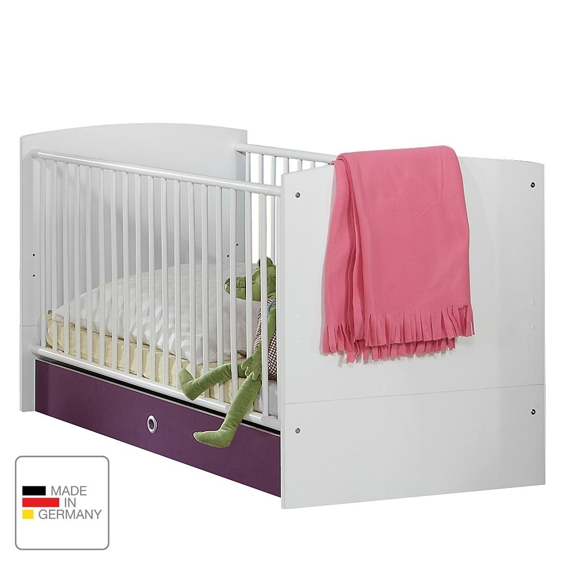 Babybed Gina   alpinewit hoogglans braamkleurig   met lades_ Wimex