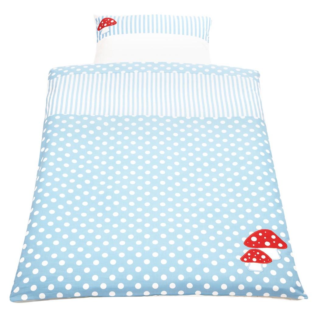 Babybeddengoed Glückspilz gelukspaddestoel 2 delig   overtrek en kussensloop   Lichtblauw_ Pinolino