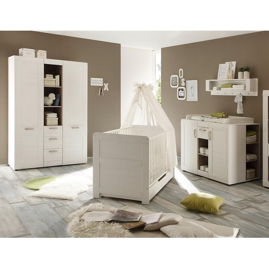 Ensemble chambre de bébé Louis (3 éléments) - Imitation pin blanc, Trendteam