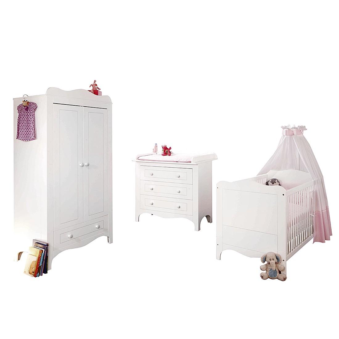 Chambre de bébé Fleur (3 éléments) - Blanc - Mat précieux, Pinolino