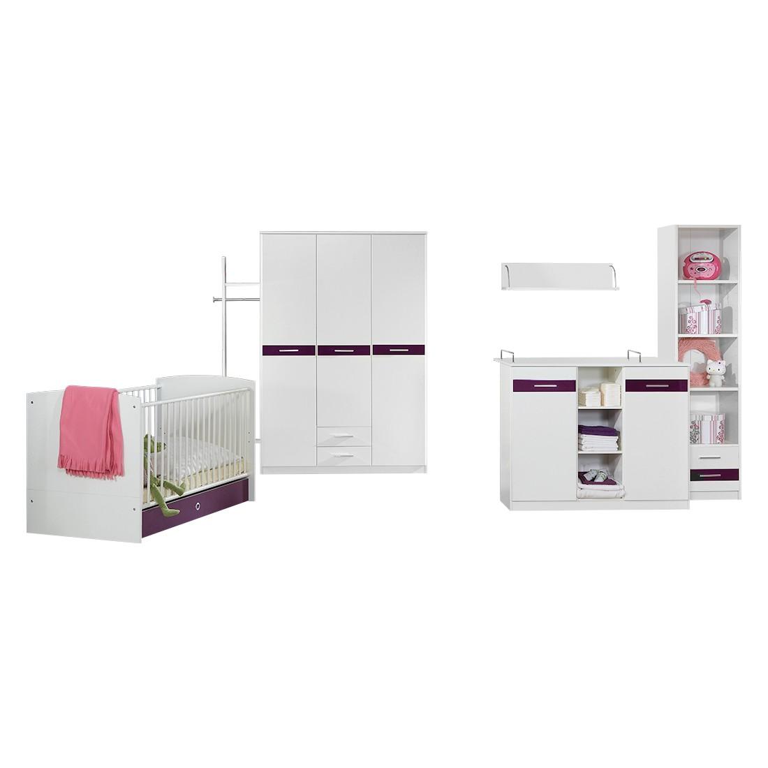 Chambre de bébé Gina (5 éléments) - Blanc alpin / Couleur mûre brillante, Wimex