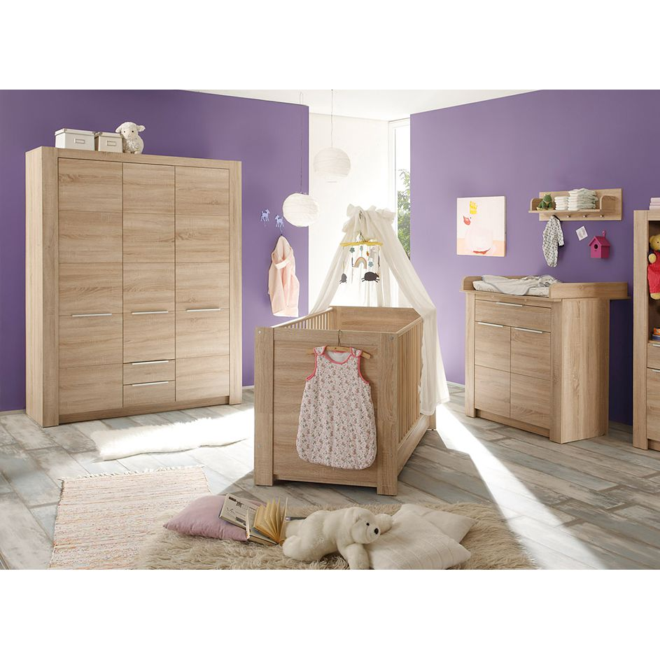 Chambre de bébé Jona II (3 éléments) - Imitation chêne brut sciage, Trendteam