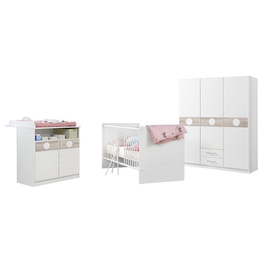 Chambre de bébé Simba (3 éléments) - Blanc alpin / Chêne brut de sciage, Wimex