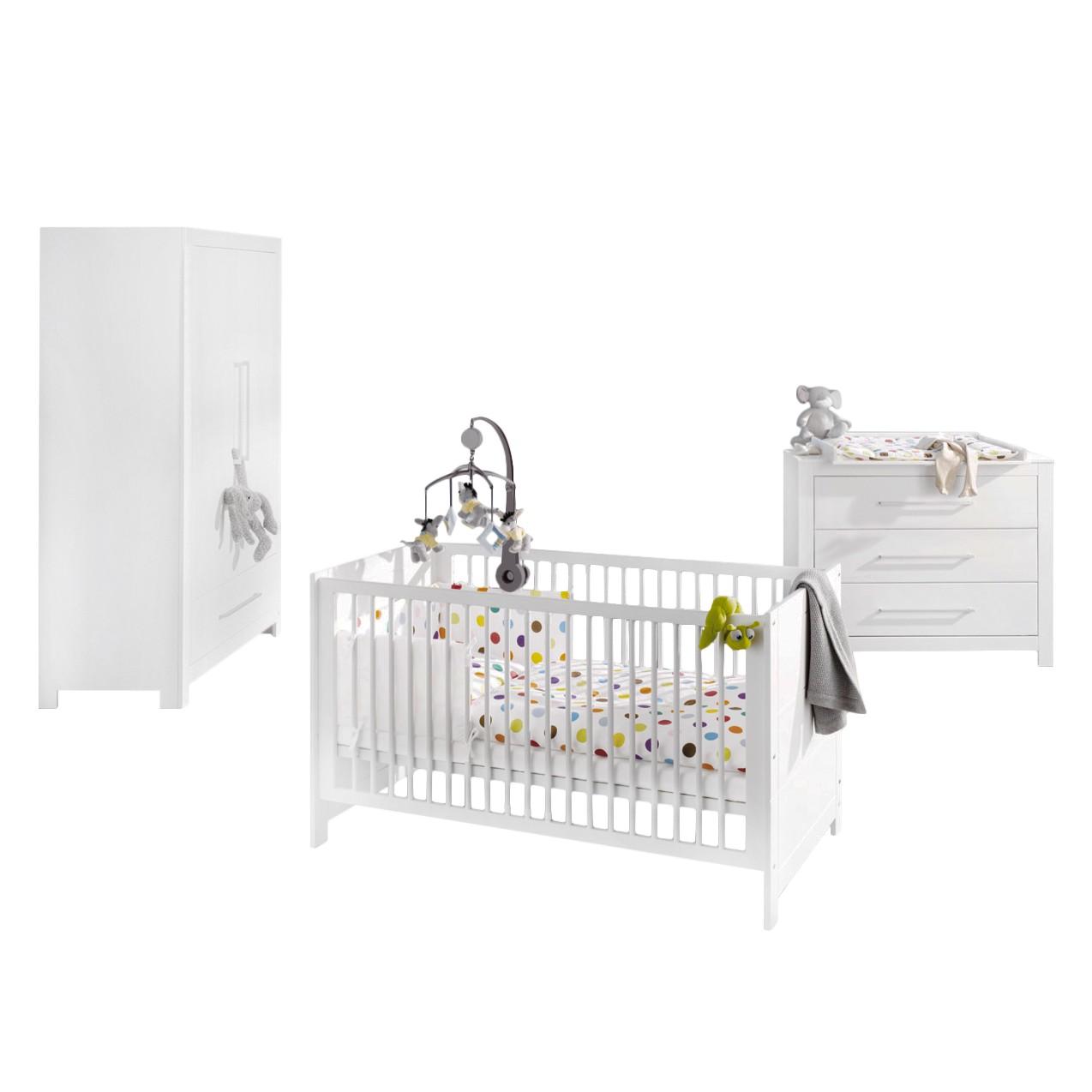 Chambre de bébé Puro (3 éléments) - Sapin - Blanc, Pinolino