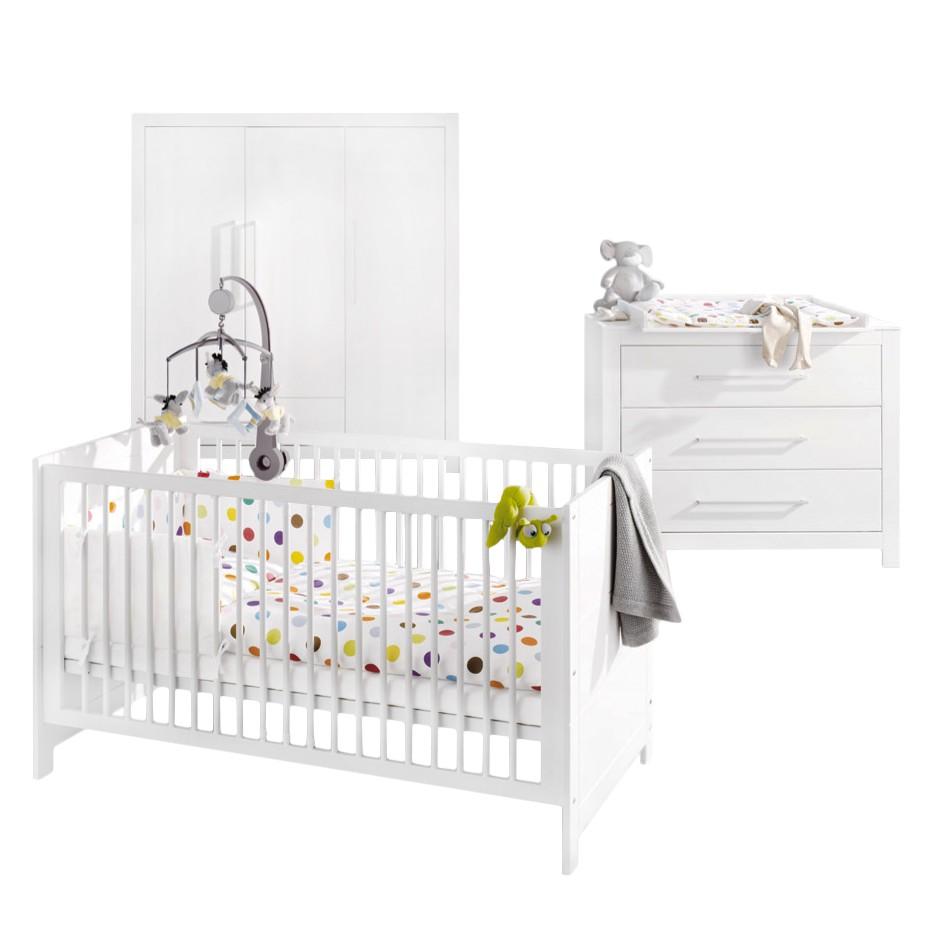 Babykamercombinatie Puro II 3 delig   vurenhout   wit   gebeitst_ Pinolino