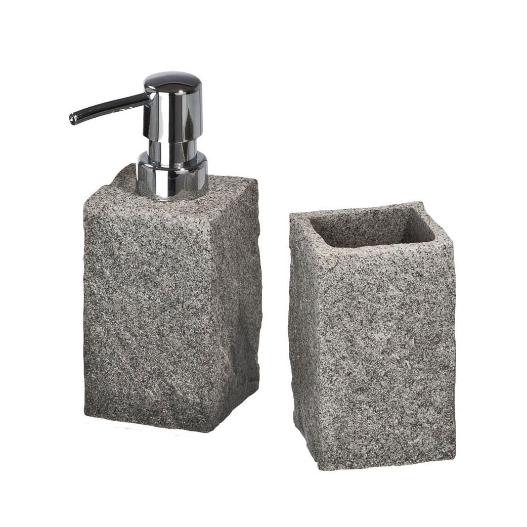 Home 24 - Ensemble d accessoires de salle bain granit (2 éléments), wenko