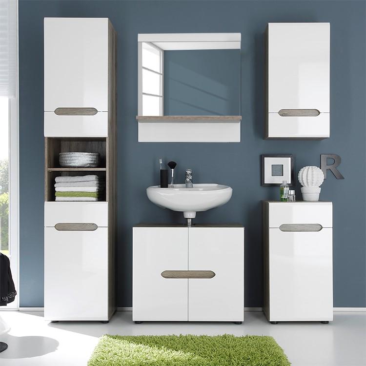 Home 24 - Ensemble salle de bain 5 éléments sulivan - chêne san remo marron / blanc brillant, modoform