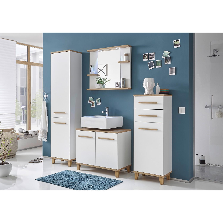 eek a ensemble de salle de bain bjerka 4 l ments blanc imitation ch ne clair morteens. Black Bedroom Furniture Sets. Home Design Ideas