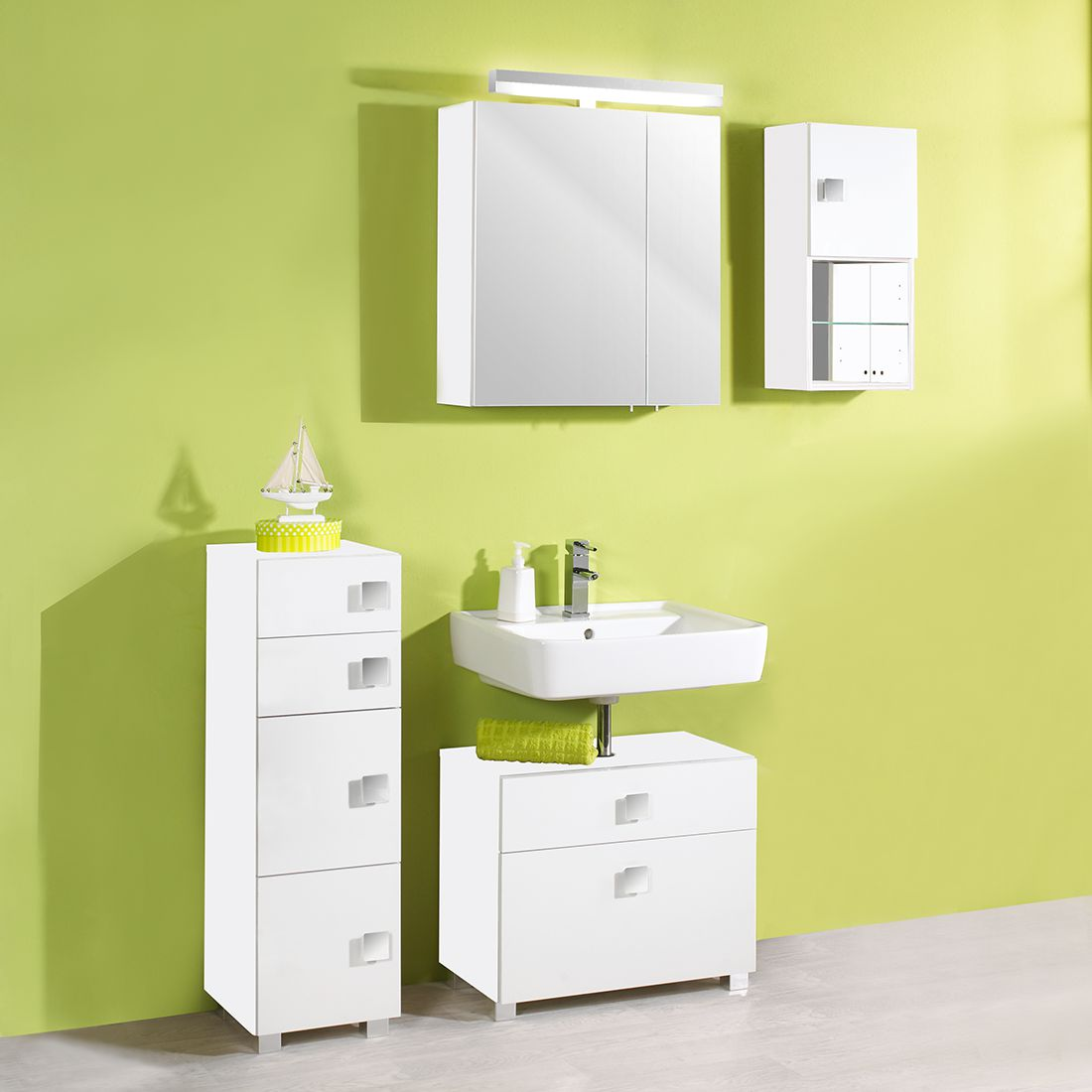 Set di mobili da bagno Genf - Bianco lucido/Bianco Set di 3 mobili da bagno Genf - Bianco lucido/Bianco, Schildmeyer