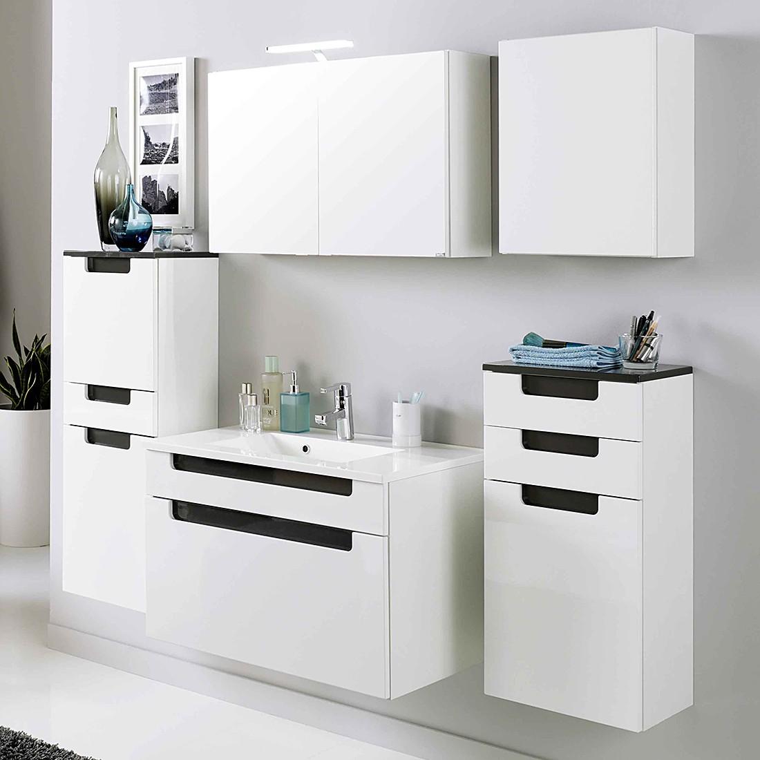 Set di armadietti per il bagno Laris I (3 pezzi) - Bianco lucido/Antracite lucida, Giessbach
