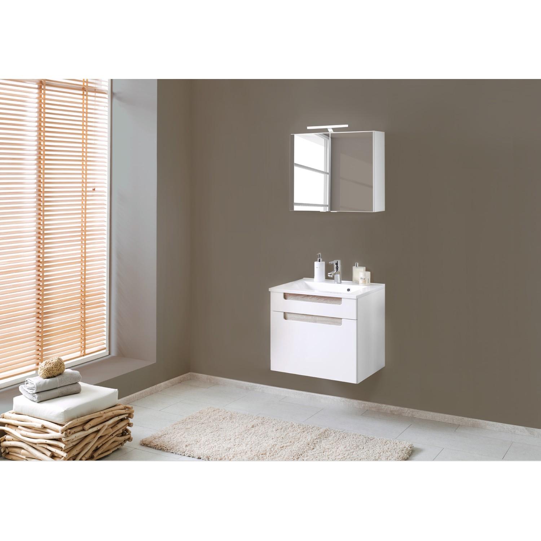 Set per il bagno Laris II (3 pezzi) - Bianco lucido/ Effetto quercia di Sonoma, Giessbach