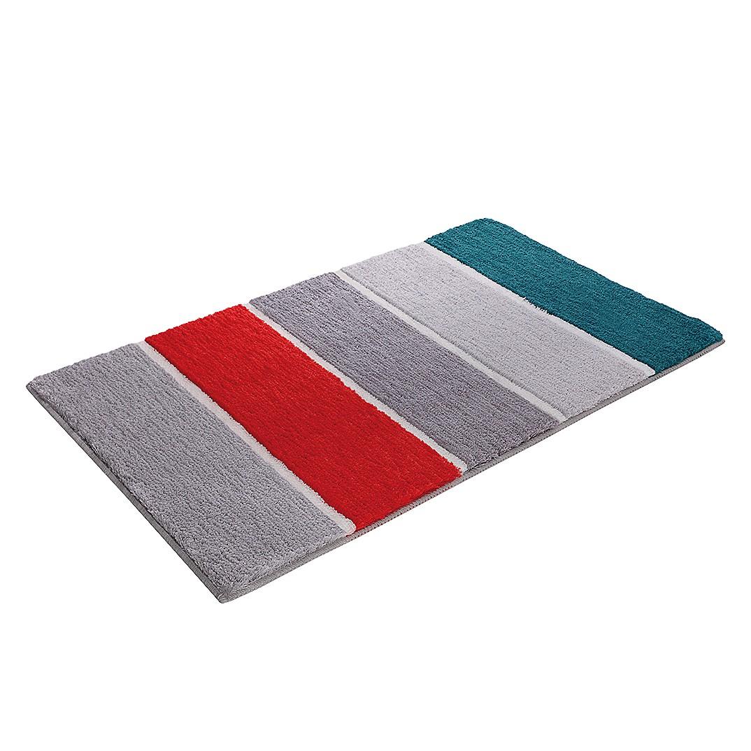 Home 24 - Tapis de bain block stripe - fibres synthétiques - gris / rouge - 55 x 65 cm, esprit home