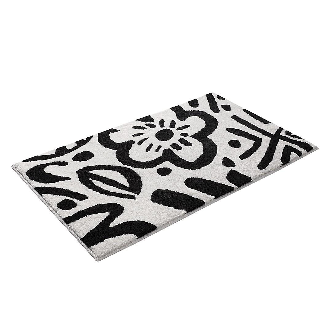 Home 24 - Tapis de bain cool flower - fibres synthétiques - noir / blanc - 55 x 65 cm, esprit home