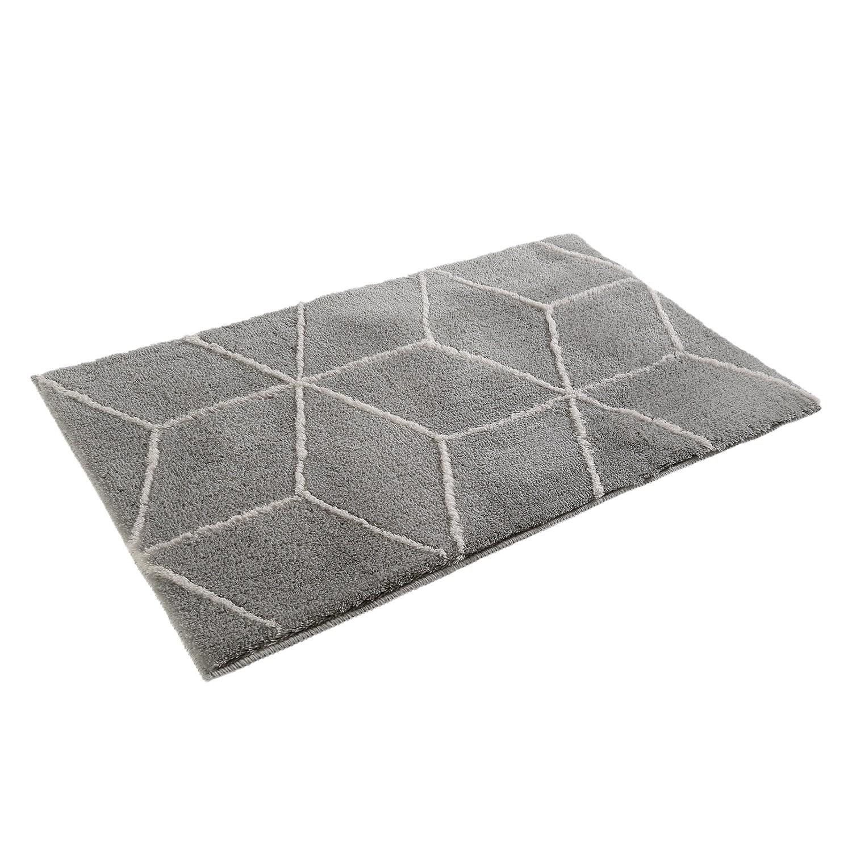 Badmat Flair - kunstvezel - Zilverkleurig/wit - 70x120cm, Esprit