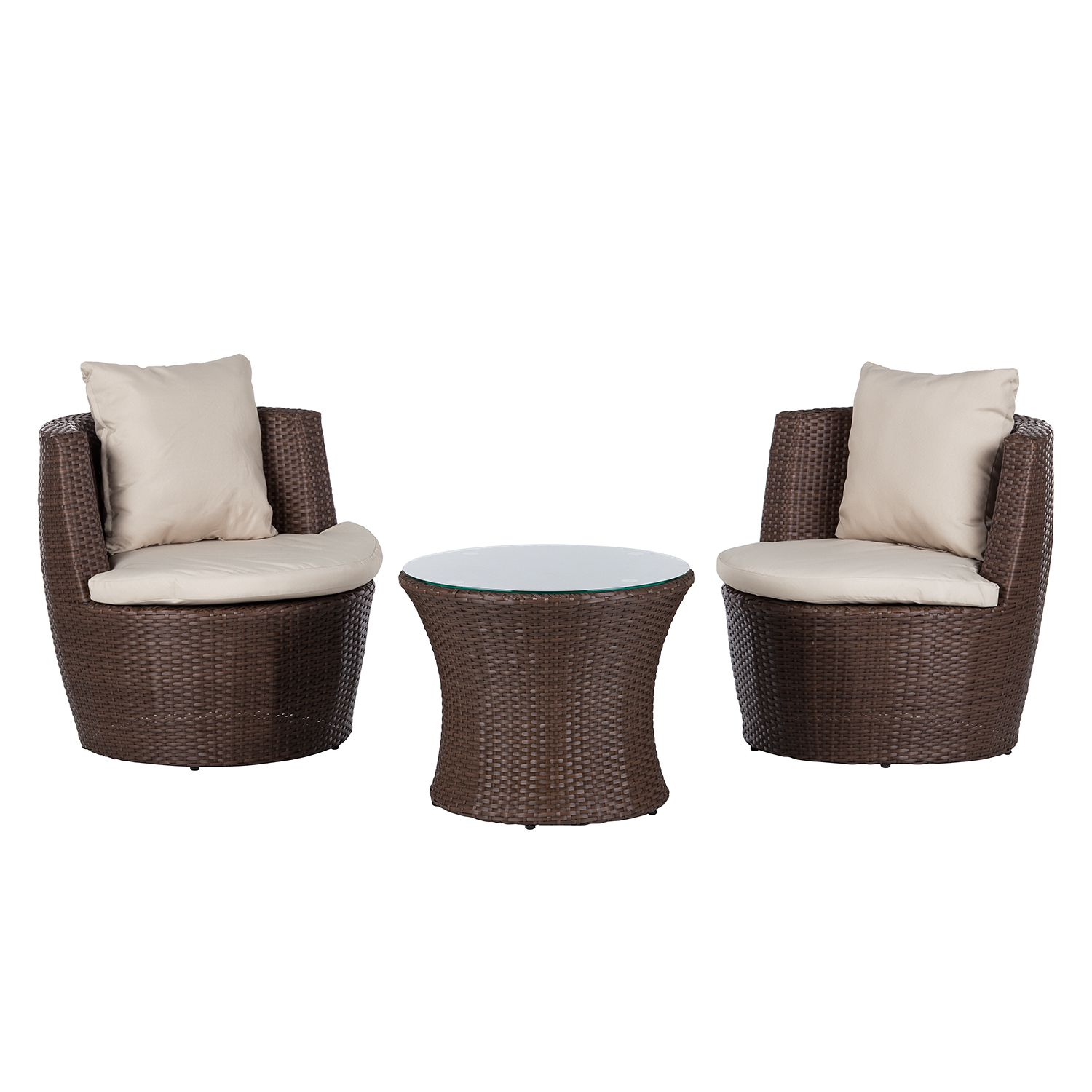 balkon set rattanesco puca 3 teilig polyrattan textil braun beige fredriks online kaufen. Black Bedroom Furniture Sets. Home Design Ideas