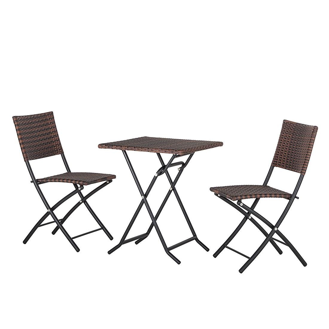 Balkon-/tuinset Paradise Lounge (3-delig) - polyrotan - bruin, Fredriks