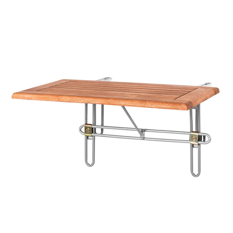 Tavolino pensile da balcone Verona - Legno massello di eucalipto Oliato, Merxx