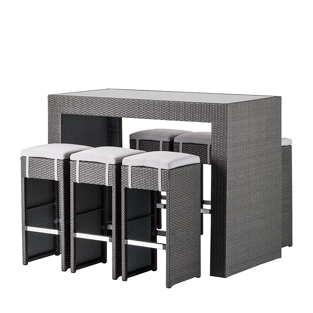 Home 24 - Ensemble de bar de jardin paradise lounge (7 éléments) - polyrotin - gris, fredriks