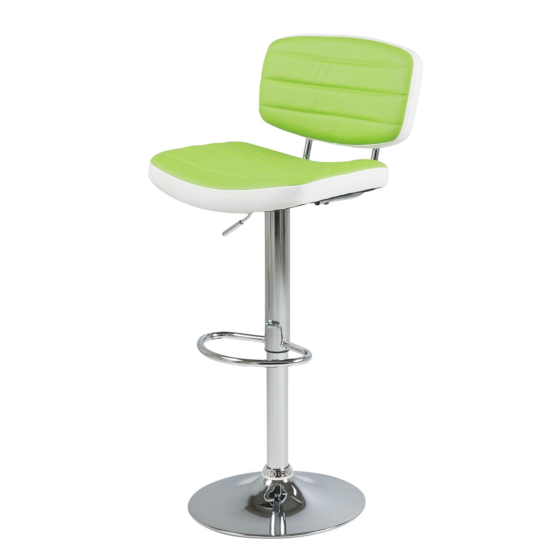 Home 24 - Tabouret de bar coulter (lot 2) - imitation cuir - vert pomme / blanc, roomscape