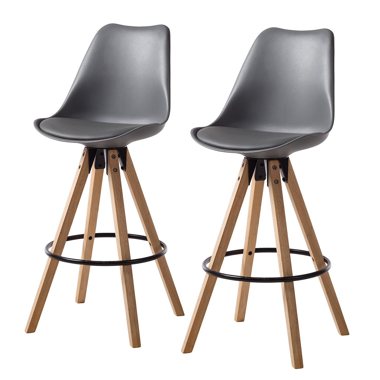 Barstoelen Aledas I (2-delige set) - kunstleer/massief rubberboomhout - Grijs, Morteens