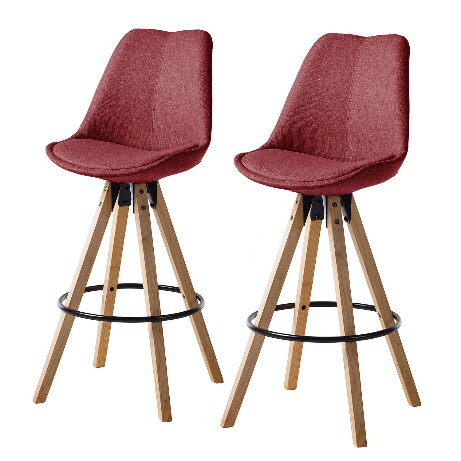 Barstoelen Aledas II (2-delige set) - geweven stof/massief rubberboomhout - Donkerrood, Morteens