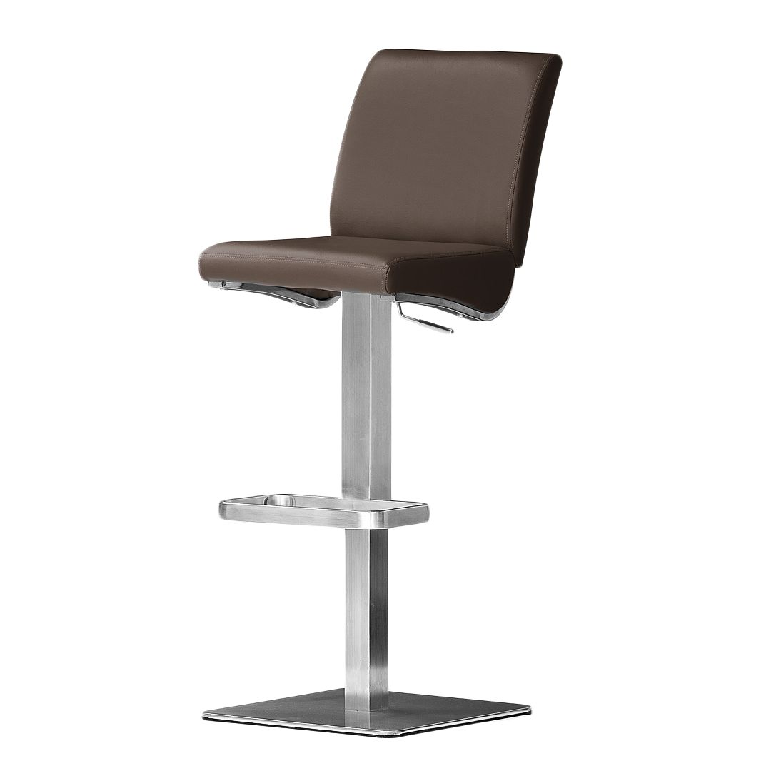 Home 24 - Chaise de bar hoover - marron - cuir synthétique - angulaire, roomscape