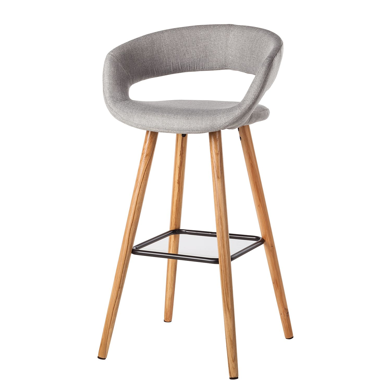 Home 24 - Chaise de bar volda (lot de 2) - tissu / chêne massif - gris clair, morteens