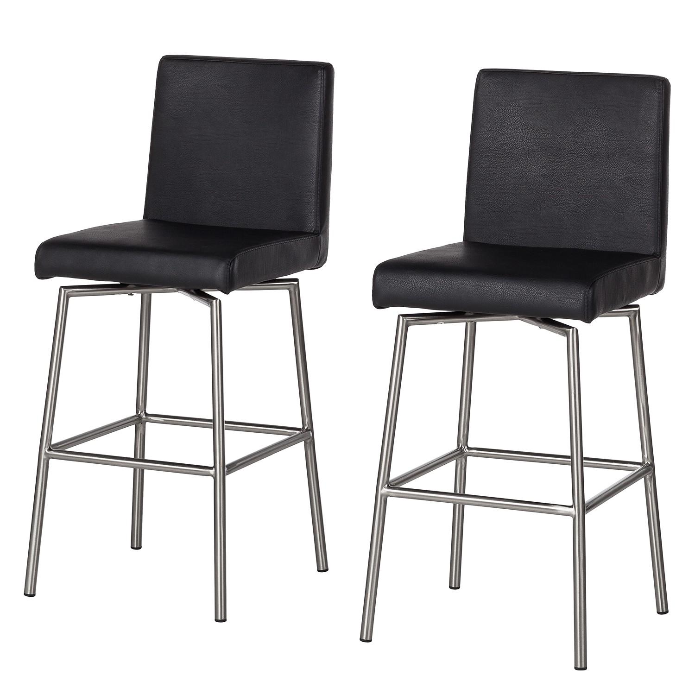 Home 24 - Chaise de bar wida (lot de 2) - imitation cuir - noir, ars manufacti
