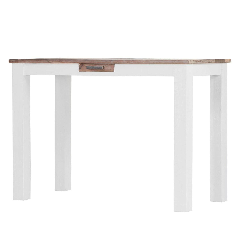 Home 24 - Table de bar doral - acacia partiellement massif marron / blanc, maison belfort