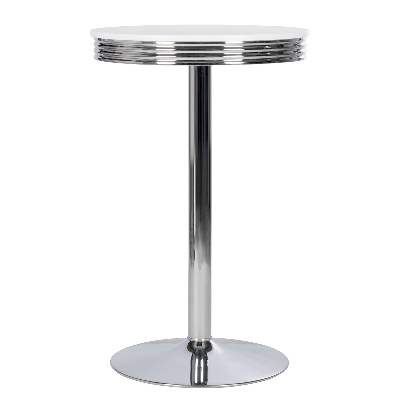 Home 24 - Table de bar elvis - blanc / chrome, mooved