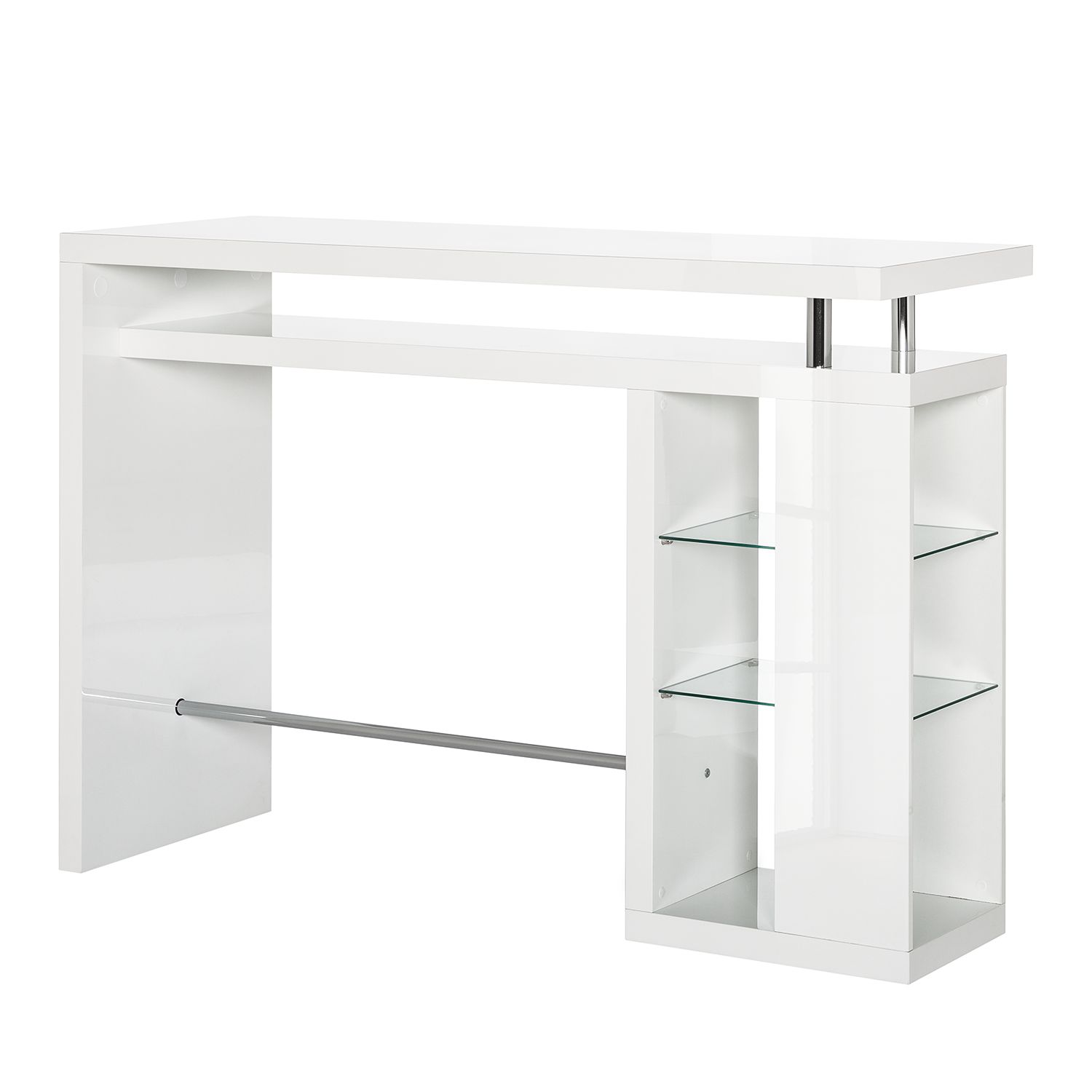 Home 24 - Table de bar lauderdale - blanc brillant, fredriks