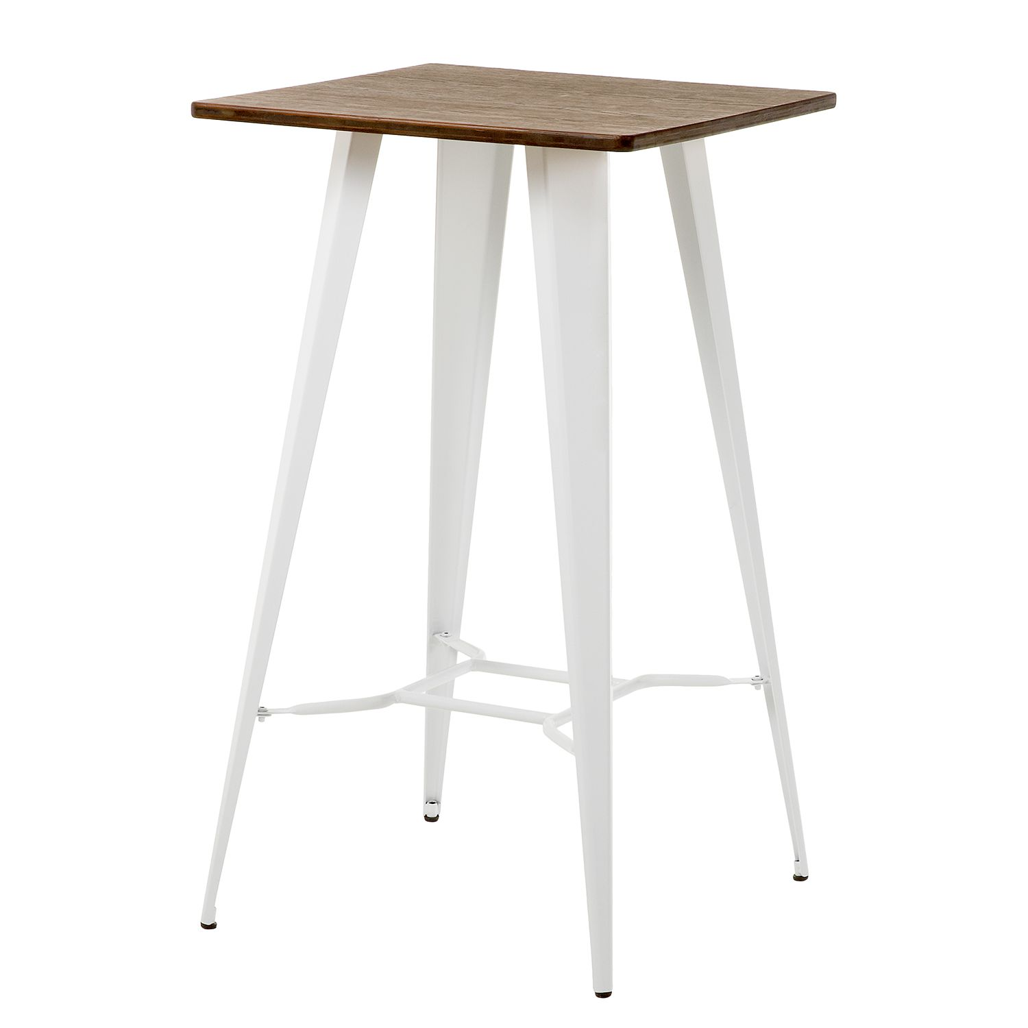Home 24 - Table de bar roth - bambou massif / acier - blanc, morteens