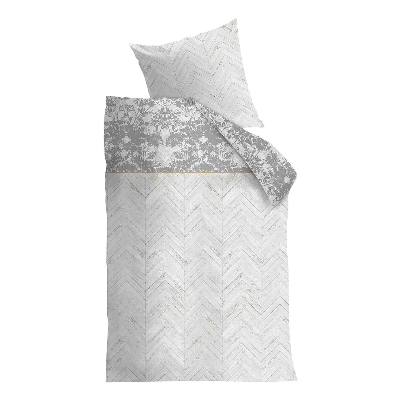 Beddengoed Faye - katoen - vintage wit/lichtgrijs - 155x220cm + kussen 80x80cm, Beddinghouse