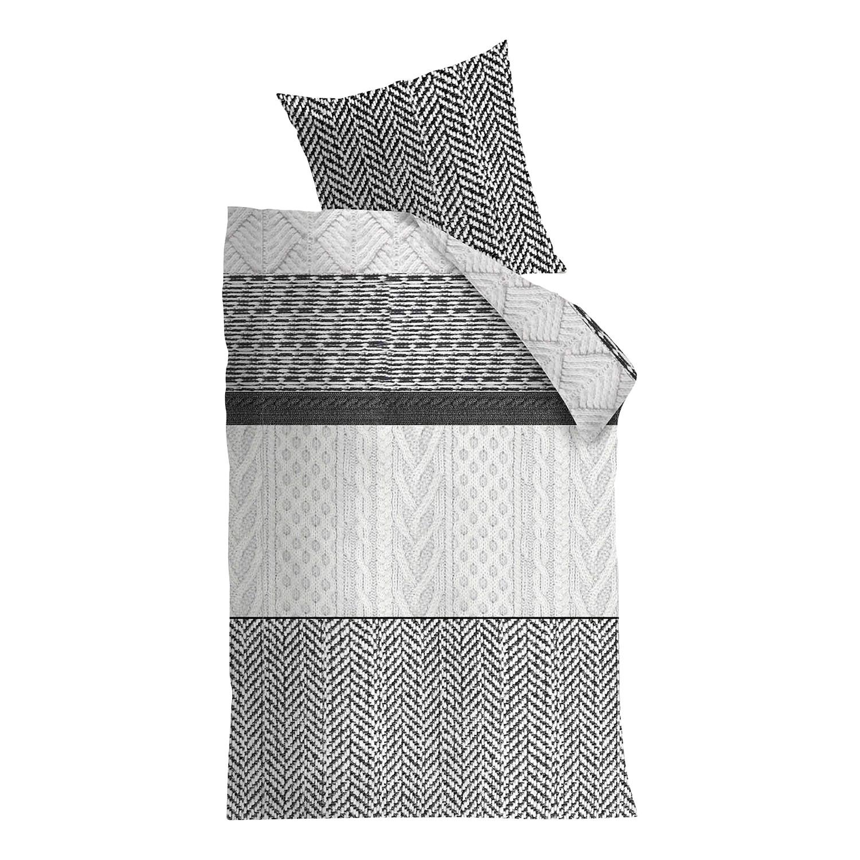 Bettwäsche Mahon - Baumwollstoff Schwarz / Weiß 155 x 220 cm + Kissen 80 - broschei