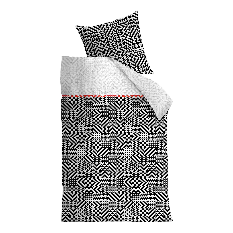 Beddengoed Kumiko - katoen - zwart/wit - 135x200cm + kussen 80x80cm, Beddinghouse