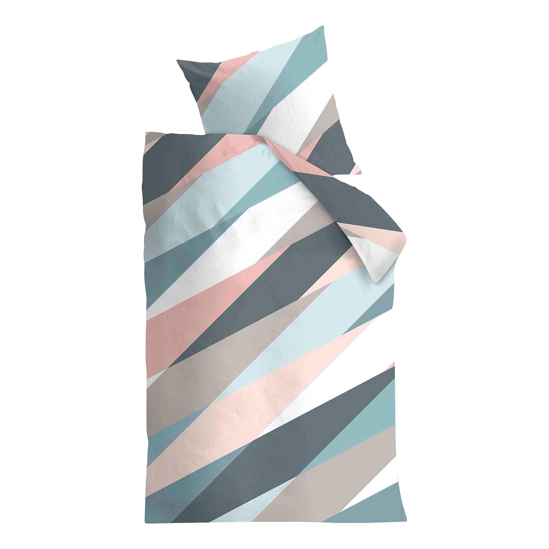 Bettwäsche Domingo - Baumwollstoff Mehrfarbig 155 x 220 cm + Kissen 80