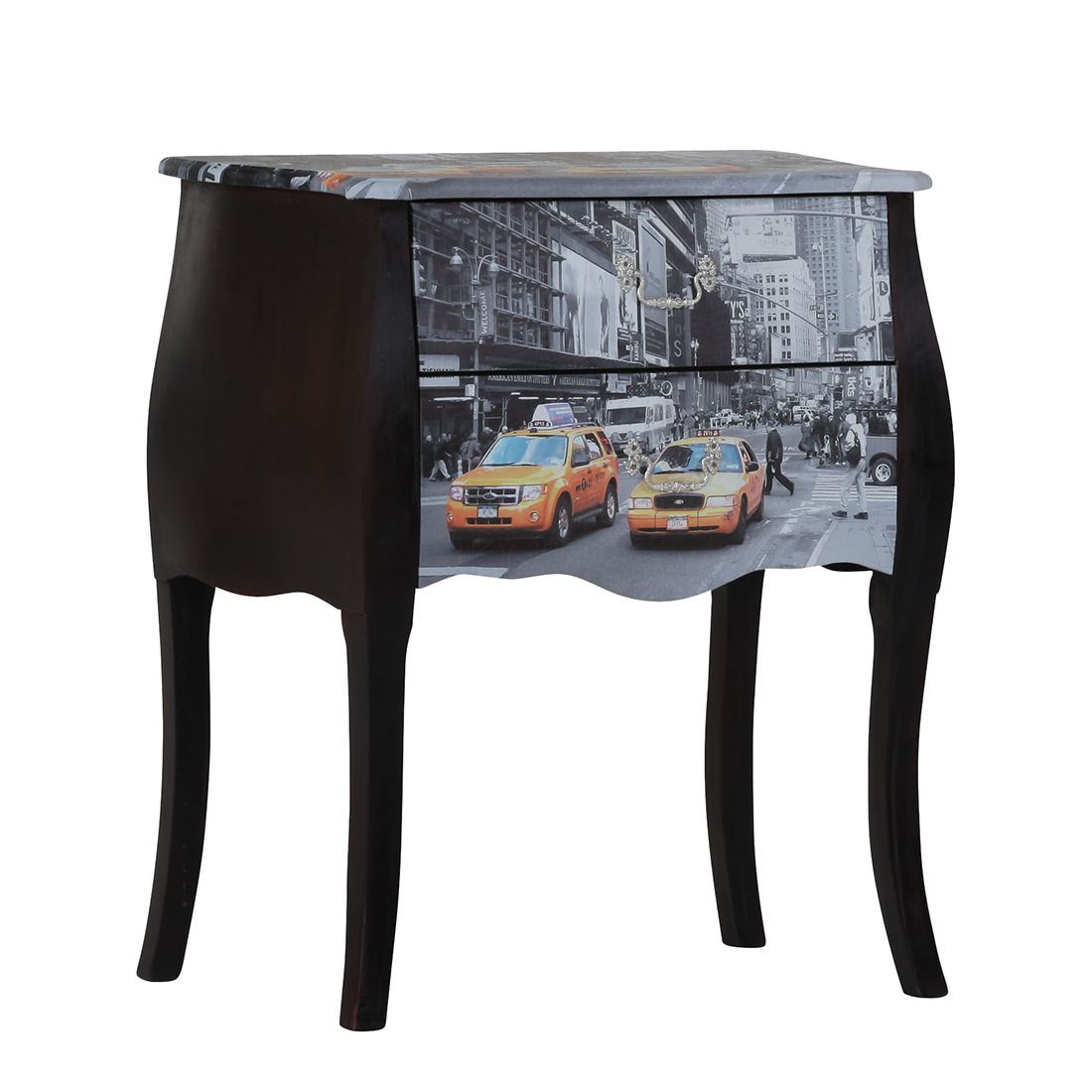 Commode Journey Manhattan I - Noir / Coloré - Verni / Imprimé, Red Living