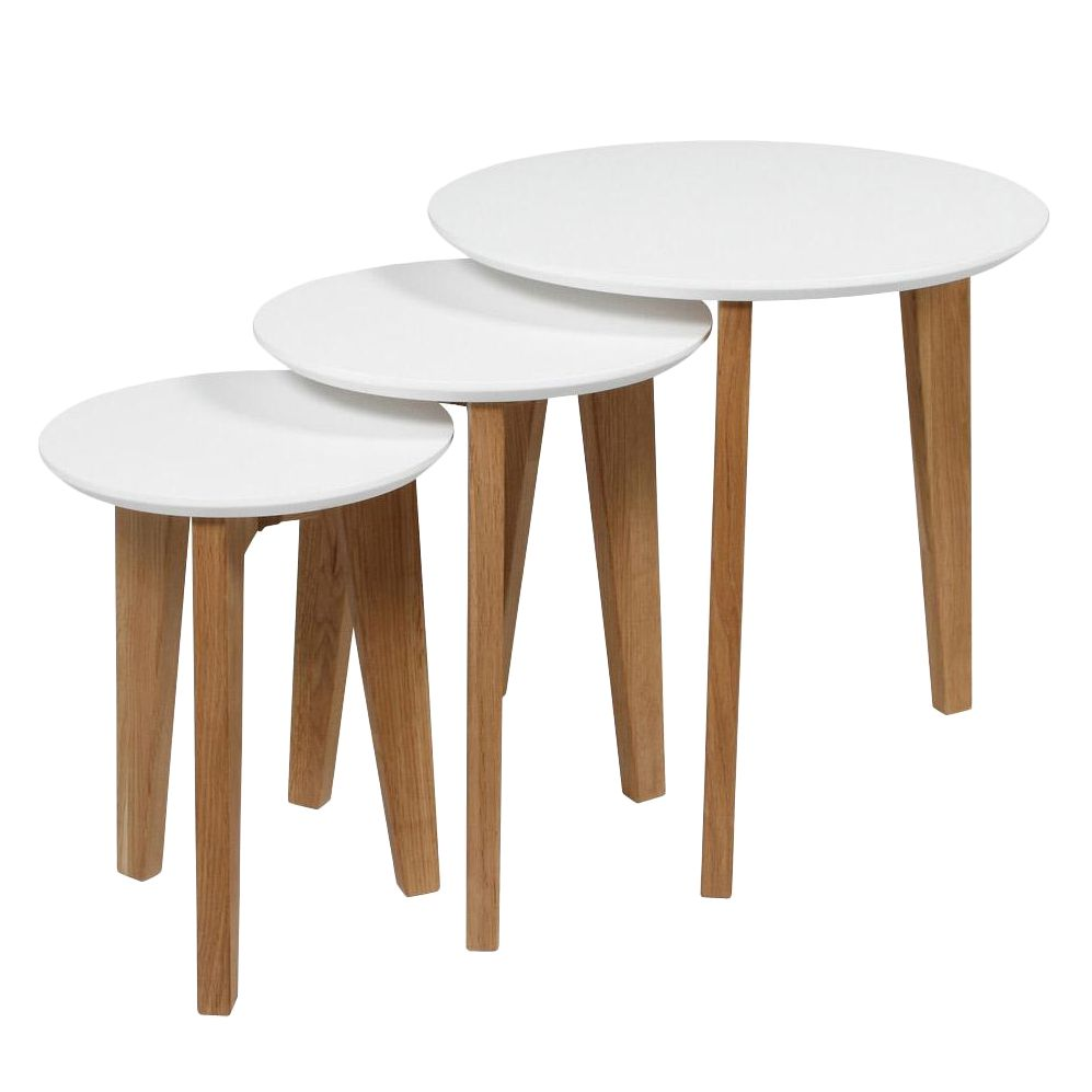 Table d'appoint Albina (lot de 3) - Chêne partiellement massif - Blanc, Morteens