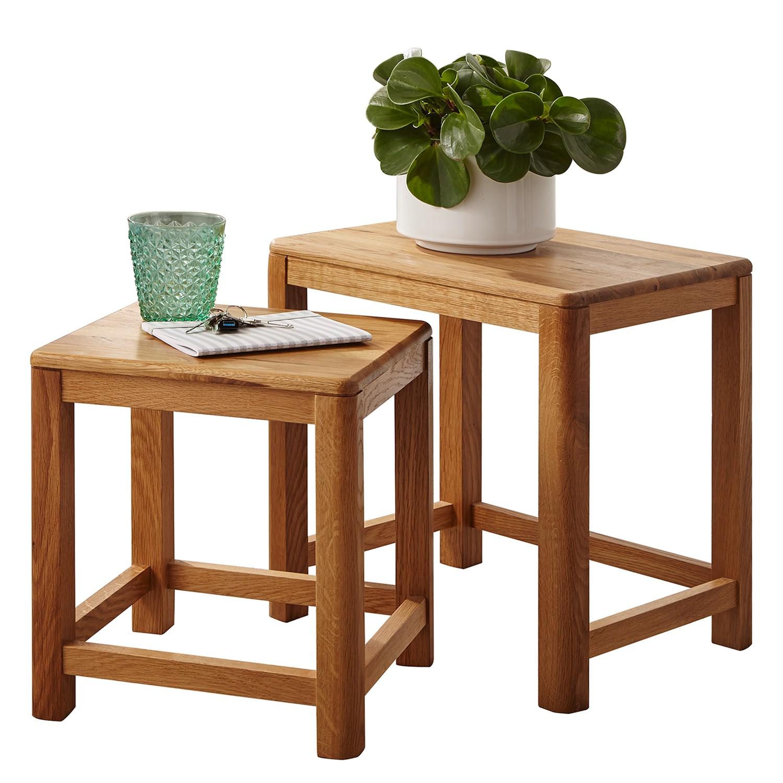 Table d'appoint gigogne Anamur (2 éléments) - Chêne sauvage massif, Ars Natura