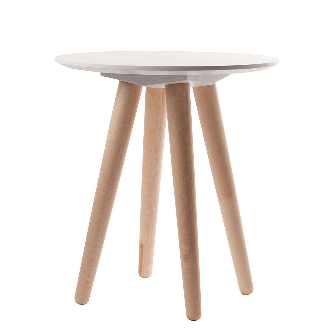 Table d'appoint Bee I - Blanc / Bouleau massif, Zuiver