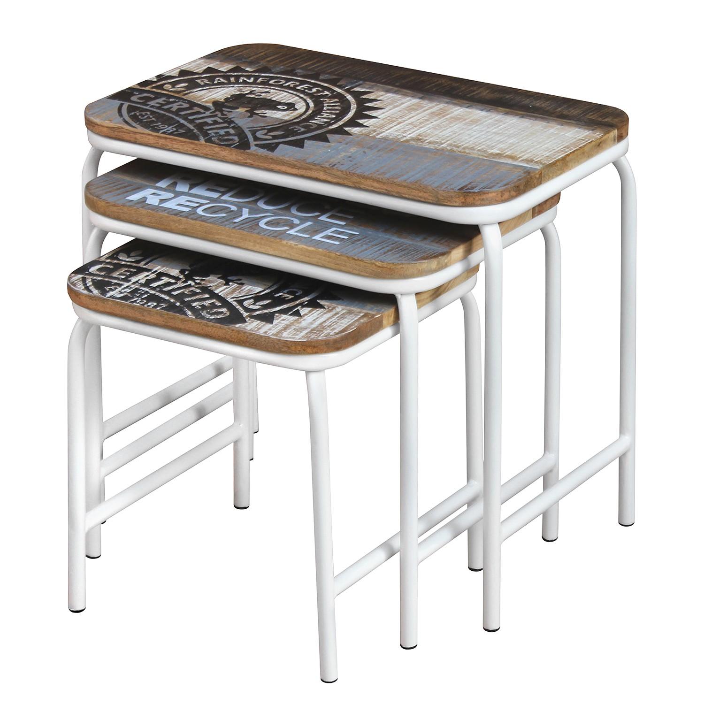 Table d'appoint Bintuni (3 éléments) - Manguier massif / Métal - Manguier marron / Blanc, ars manufa