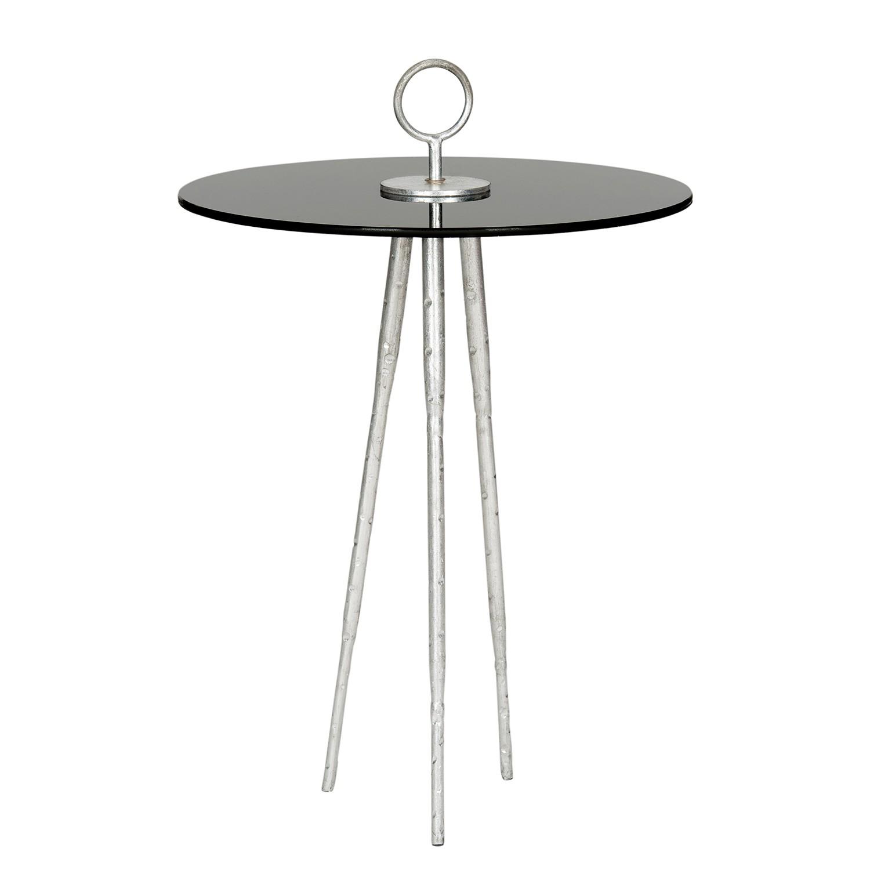 Tavolino Delam - Ferro/Vetro Color argento/Nero, Safavieh