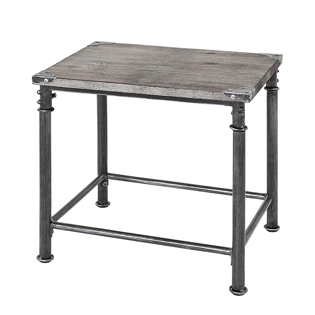 Tavolino doubs i - acciaio/legno massello anticato nero/grigio sbiancato, ars manufacti