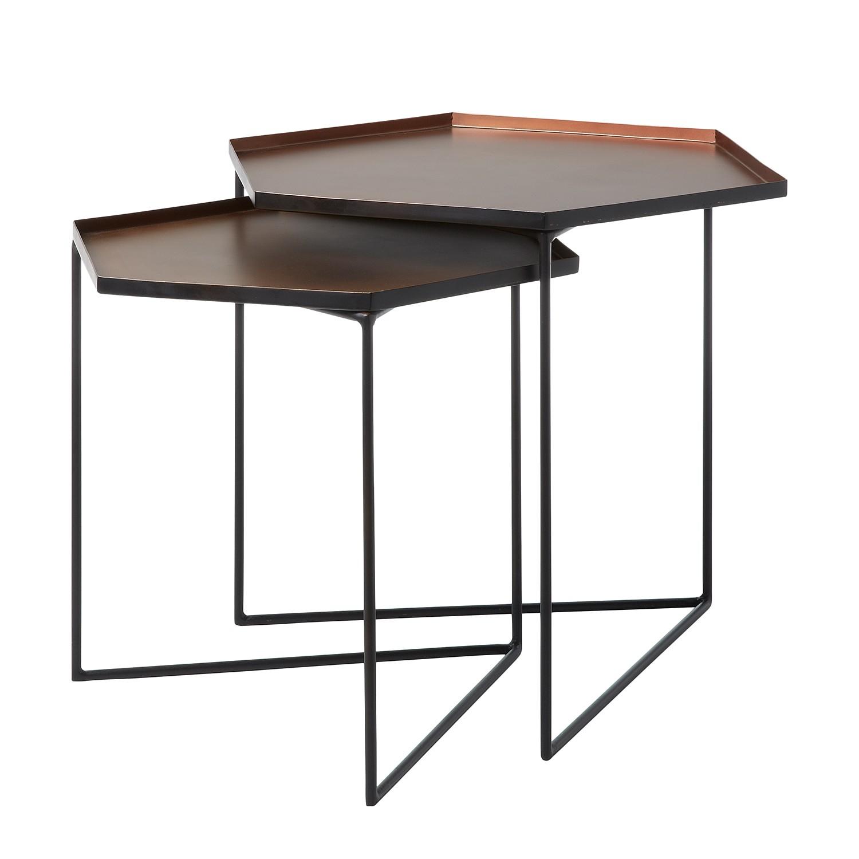 Table d'appoint gigogne Fasano - Métal - Cuivre / Noir, Morteens