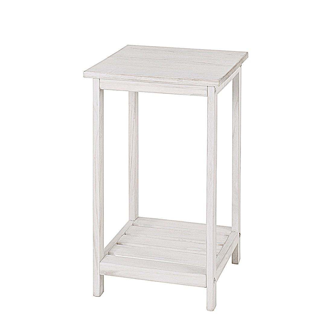 Tavolino d'appoggio Frederick - Legno massello di paulownia con imbiancatura, Home Design