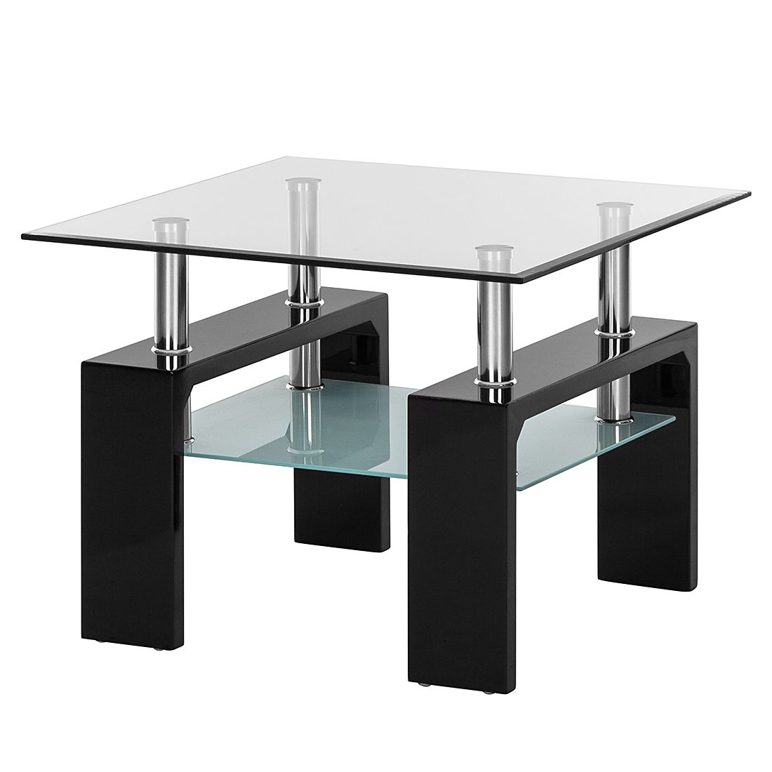 Table d'appoint Glassy I - Verre clair / Noir, roomscape