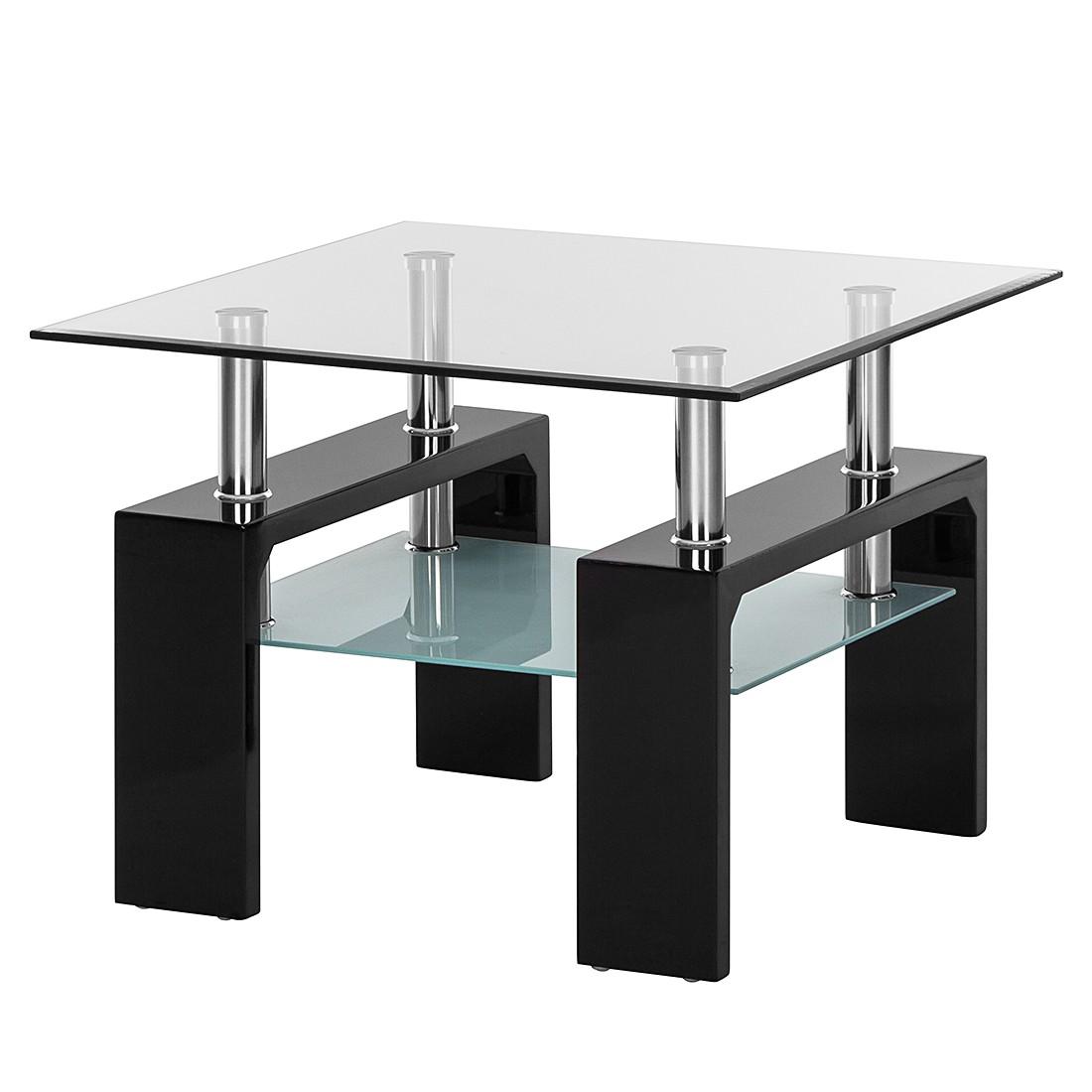 Tavolino Glassy I - Vetro trasparente/Nero, roomscape