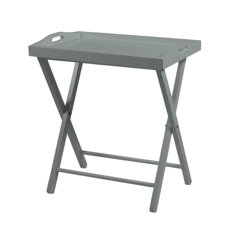 Tavolino Hude - Parzialmente in legno massello di pino Grigio, mooved