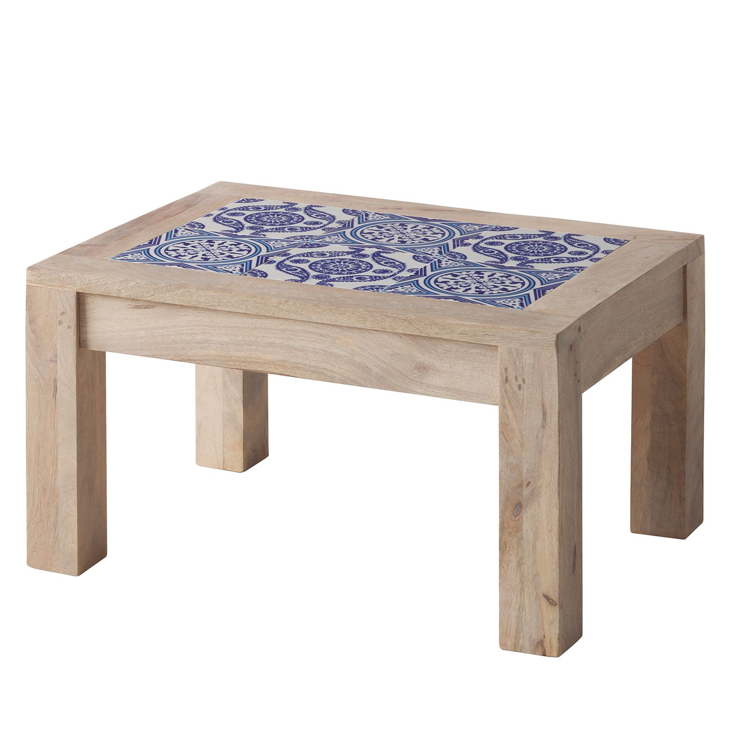 Table d'appoint Ibiza - Manguier massif / Céramique - Manguier / Bleu - 57 x 42 cm, ars manufacti